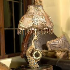 Europe Style Vintage Bedroom Living Room Study Peacock Table Lamp With Clock