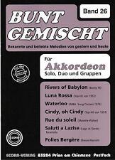 Akkordeon Noten : Bunt gemischt Heft 26  - mittelschwer - mit 2. Stimme (ad. lib