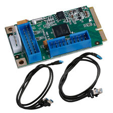 Mini PCI-E PCI Express to 4 USB 3.0 Ports Adapter Card ITX to Dual 20Pin Cable