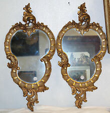 Pair of Venetian Gilt Wood Carved Mirrors Rococo style Circa 1900
