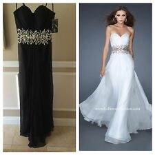 NWT BLACK LA FEMME PROM/PAGEANT/FORMAL DRESS/GOWN #18482 SIZE 0