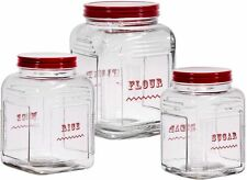 Home Essentials Vintage Glass Canister Set Of 3, Sugar, Flour, Rice
