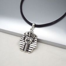 Silver Alloy Egypt Egyptian Cleopatra Pharaoh Pendant 3mm Black Leather Necklace