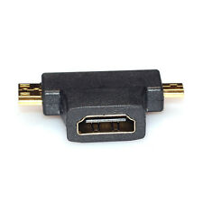3 in 1 HDMI Frau zum Mini-HDMI-Stecker + Micro-HDMI-Stecker Connector Adapter BK