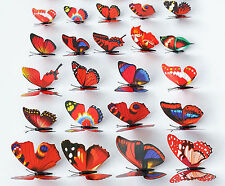 100pcs Wholesale Multicolor 3D 7CM Artificial Butterflies with Magnet Home Decor