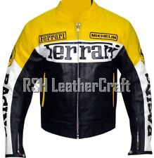 Ferrari Biker Motorcycle Racer Genuine Cowhide Leather Rider Jacket with