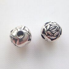 Vintage 6mm Silver-Plated Metal Roses, Approximately 100 Beads
