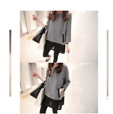 Womens Casual Long Sleeve Cotton Linen Splice Shirt Blouse Loose Tops Plus 5XL