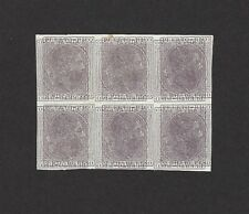 Puerto Rico 1882 2m imperf proof double print block of 6. Scott #59