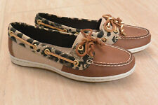 NIB Womens Sperry STS95797 Firefish Animal Tan Leopard Print Boat Shoes Sz 7M