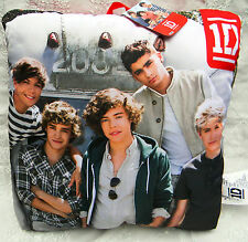 One Dimension 1D photo accent toss pillow w red silky back 2082 background NWT