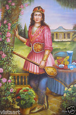 """24""""x36"""" Hand Painted Oil on High Quality Stretched Canvas ~Girl with Setar~"""