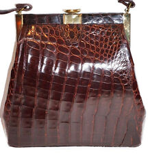 Vintage BROWN GOLD Real Alligator CROCODILE Bag PURSE HANDBAG 1960'S