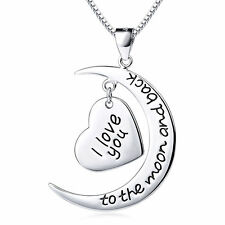 I Love You To The Moon and Back -925 Sterling Silver Crescent Heart Necklace 18""