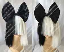 Cosplay wig Sia was a wig Black and white double Bobo short hair+Black bow