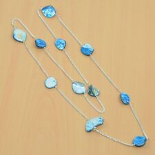 925 STERLING SILVER PLATED BLUE MOTHER OF PEARL NICE LONG CHAIN NECKLACE V04020