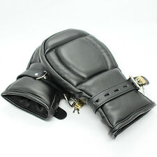 Quality Leather Lockable Bondage Padded Fetish Mitts Restraint Mittens Gloves