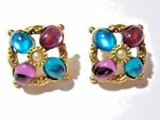 PRETTY DESIGNER STYLE FAUX JEWEL TONE BLUE PURPLE FAUX PEARL PIERCED EARRINGS