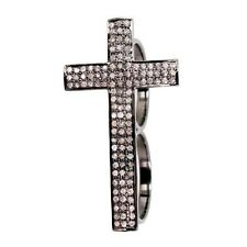 Solid 925 Sterling Silver CROSS Double/Two Finger Ring Pave Natural Diamond Fine