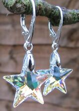 925 STERLING SILVER EARRINGS WITH SWAROVSKI ELEMENTS CRYSTAL AB 20mm STAR