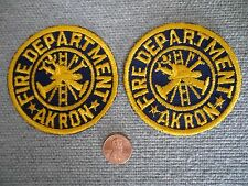 Lot of (2) Vintage Akron (Ohio) Fire Department Patch New Old Stock