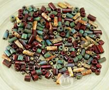 Anissa Exclusive Picasso Mix Czech Glass Tube Seed Beads Rustic Multicolor Strip
