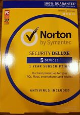 Brand *New Symantec Norton Security with Antivirus Deluxe - 5 Devices Key Card