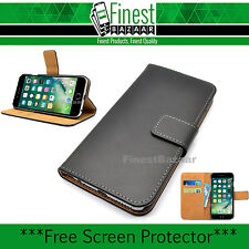 Premium Black Genuine Leather Wallet Magnet Flip Case Cover for iPhone SE 5S & 5