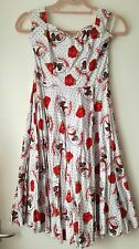 Hell Bunny WhiteRed Rockabilly Gothic skull tattoo print dress (s/10/12)