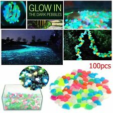 100 MIXED GLOW IN DARK PEBBLES STONES LUMINOUS GARDEN OUTDOOR AQUARIUM