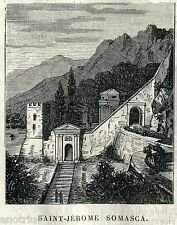 Vercurago, Somasca: Santuario San Girolamo Emiliani. Lecco. Stampa Antica.1875