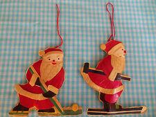 Santa Claus Christmas Ornaments Lot of 2 Hockey Skiing GUC Gift