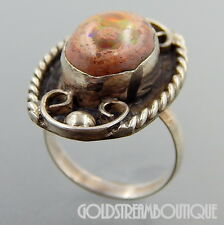 MEXICO 925 STERLING SILVER JELLY OPAL TWISTED ROPE SWIRLS OVAL RING  SIZE 5.75