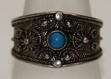 STYLISH RETRO 925 SILVER RING VERY INTRICATE WITH BLUE BEAD*