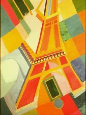 "Robert Delaunay Vintage French Abstract Art CANVAS PRINT Eiffel Tower 16""X12"""