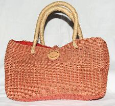 Kenneth Cole Reaction Orange Straw Abaca Tote Bag with Red Orange Cloth Lining