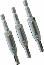 3PC Piece Hinge Self Centering Drill Bit Set Pilot Holes HSS Hex Recess Shank