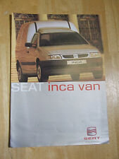 SEAT INCA VAN SALES BROCHURE 1.9 SDI 2 PAGES 2001