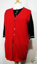 Womens Red Long Tunic Sweater Vest Button Front Size Medium