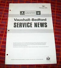 VAUXHALL - BEDFORD SERVICE NEWS 78/1. FEB 1978. COLOUR CODES TUNE UP TRUCKS CARS