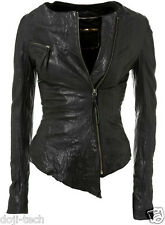 Kate Moss Iconic Black Leather Asymmetric Zip Vtg Topshop Biker Jacket 12 40 8 M