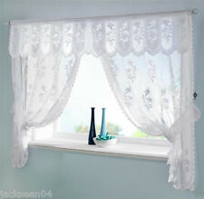 WHITE VOILE NET JACQUARD LACE SCALLOPED CURTAINS DRAPES SET+PELMET 520.7cm X