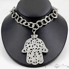 Antique Vintage Georgian Sterling 800 Silver Jewish Hamesh Hand Hammer Necklace