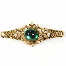 Victorian Style Brooch Vintage Paquette Green Cabochon Faux Pearl Gold Tone p410