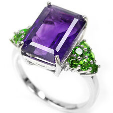 Sterling Silver 925 Genuine Amethyst & Chrome Diopside Ring Size O1/2 (US 7.25)