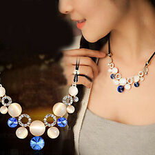 1 Pc Rhinestone Inlay Natural Stone Short Clavicle Necklace Jewelry Decoration