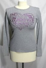 United Colors Benetton - XS - Heather Gray & Purple Heart Script Graphic T-Shirt