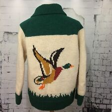 VTG Hand Knit Cardigan Sweater Hunting Birds Wool Sweater Zip Full Zip Men L-XL