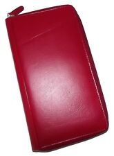NEW ITALIA LEATHER RFID PROTECTED ZIP PASSPORT ORGANIZER TRAVEL WALLET RED