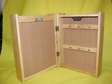 * WOOD BOX 2 MAIL Slots 6 hook KEY OR JEWELRY HOLDER opens 11 X 8 blonde wood
